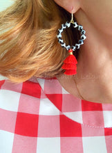 Load image into Gallery viewer, Black, White & Red Tiered Tassel Earrings - Ginger jar