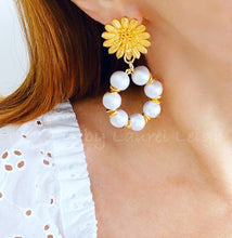 Load image into Gallery viewer, Gold Sunflower Cotton Pearl Hoop Earrings - Ginger jar