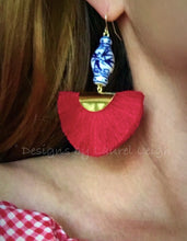 Load image into Gallery viewer, Chinoiserie Ginger Jar Fan Tassel Earrings - Red - Ginger jar