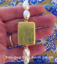 Load image into Gallery viewer, Baroque Pearl and Gold Bead Statement Bracelet - Designs by Laurel Leigh