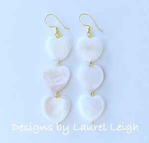 White Mother of Pearl Heart Drop Earrings - Ginger jar