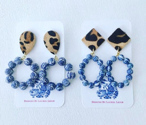 Chinoiserie Beaded Hoops w/ Leather Leopard Print Posts - 2 Styles - Ginger jar