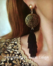 Load image into Gallery viewer, Chinoiserie Slinky Tassel Statement Earrings - Black & Gold - Ginger jar