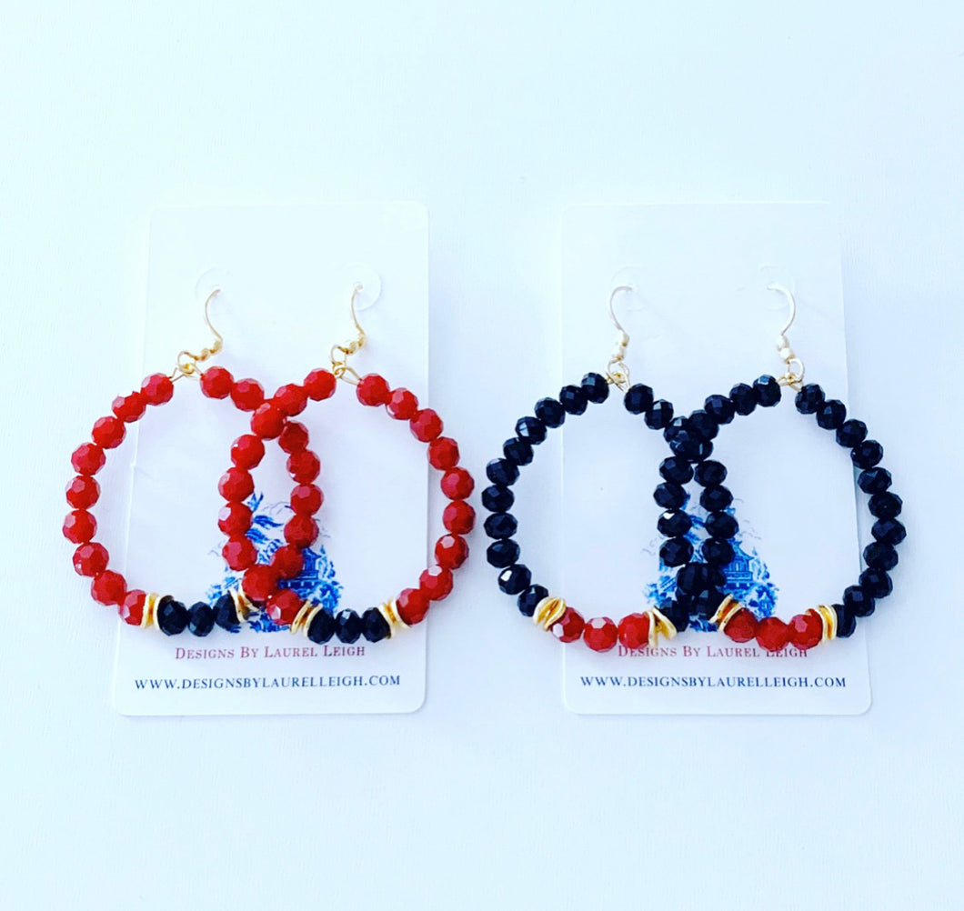 Red & Black Game Day Hoop Earrings - Ginger jar