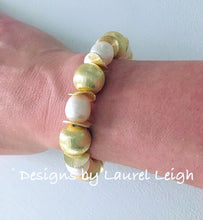 Load image into Gallery viewer, Freshwater Pearl and Gold Statement Bracelet - Ginger jar