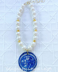 Chunky Pearl & Blue Willow Chinoiserie Pendant Statement Necklace - Ginger jar