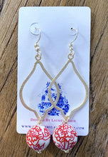 Load image into Gallery viewer, Chinoiserie Red Peony Drop Earrings