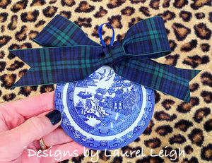 "Blue Willow Plate Christmas Ornament 4"" - Pick Ribbon"