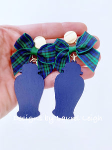 Chinoiserie Chic Ginger Jar Statement Earrings - Tartan Plaid Bows - Ginger jar