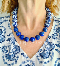 Load image into Gallery viewer, Chunky Blue & White Lapis Chinoiserie Statement Necklace - Round Porcelain - Ginger jar