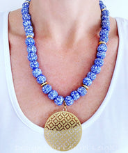 Load image into Gallery viewer, Blue & White African Glass Brass Pendant Necklace - Ginger jar