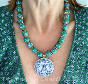 Green, Blue & White African Glass Chinoiserie Pendant Necklace - Ginger jar