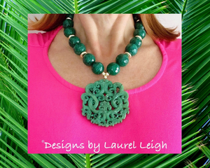 Chunky Emerald Green Jade Chinoiserie Pendant Statement Necklace