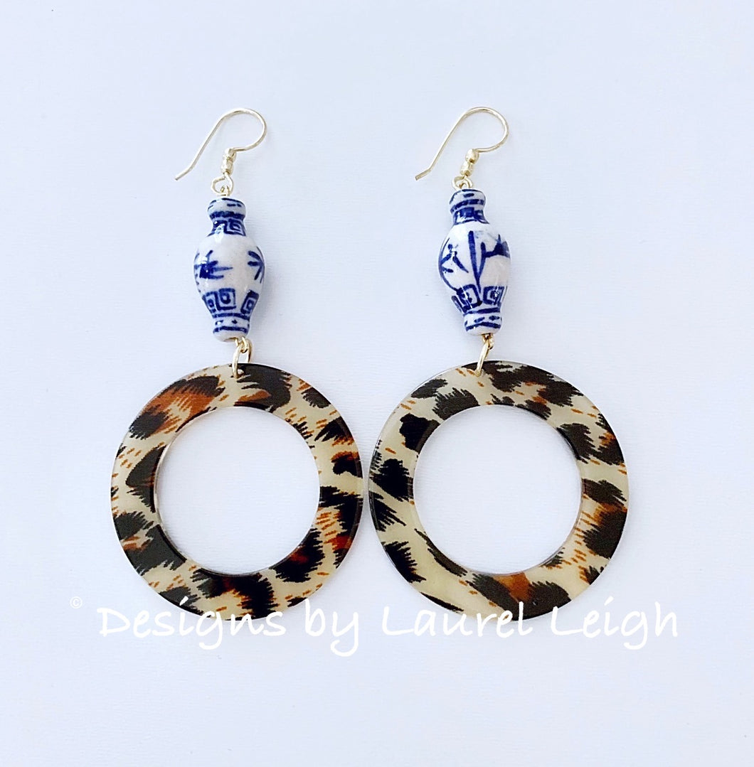 Chinoiserie Ginger Jar Animal Print Acrylic Hoops - 4 Styles - Ginger jar