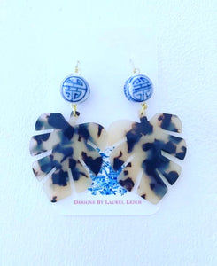 Chinoiserie Tortoise Shell Tropical Palm Leaf Statement Earrings - BROWN or BLONDE - Designs by Laurel Leigh