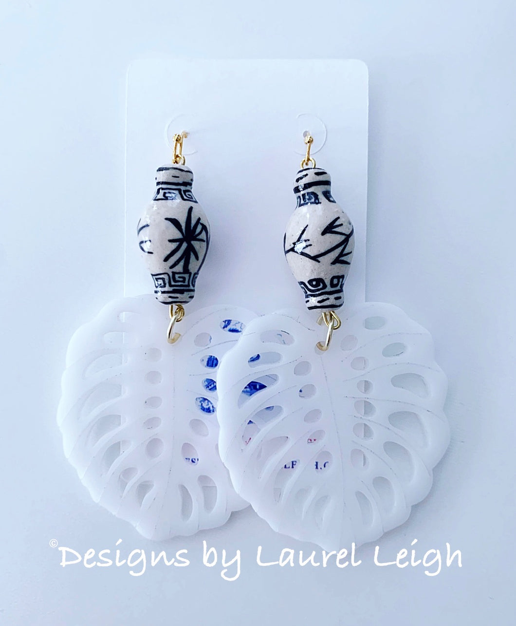 Chinoiserie Tropical Monstera Leaf Statement Earrings