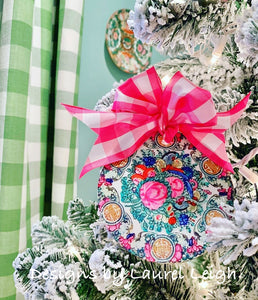 "Chinoiserie Christmas Ornament- 4"" Rose Medallion Plate Pattern - Pick Ribbon"