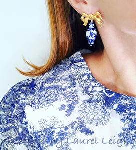 Chinoiserie Ginger Jar Bow Statement Earrings - 3 Styles