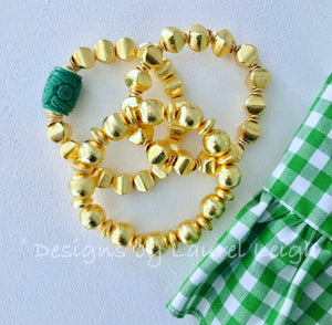 Gold Square Beaded Statement Bracelet - Ginger jar