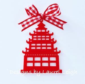 Chinoiserie Pagoda Christmas Ornament - Blue/White/Red - Ginger jar