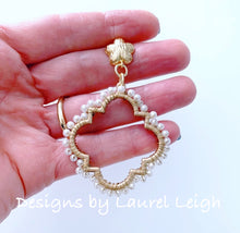 Load image into Gallery viewer, Gold & Pearl Quatrefoil Earrings - Ginger jar