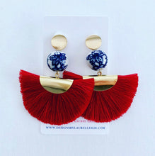 Load image into Gallery viewer, Chinoiserie Peony Flower Fan Tassel Earrings - Red - Ginger jar