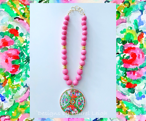 Rose Medallion Chinoiserie Pendant Necklace - Pink - Plate V2 - Ginger jar