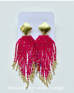 Dressy Seed Bead Tassel Statement Earrings - Gold & Black/Gray/Turquoise/White/Fuchsia - Ginger jar