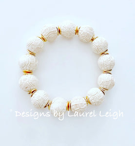Ivory/Gold Chinoiserie Beaded Bracelet - Ginger jar