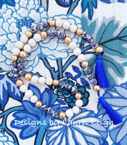 Chinoiserie Blue and White Beaded Tassel Garland