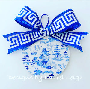 "Chinoiserie Christmas Ornament- 4"" Watercolor Blue Willow Pattern - Pick Ribbon"