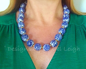 Blue and White Chunky Chinoiserie Statement Necklace - Ginger jar