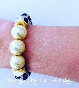 Black, White and Gold Tibetan Agate Gemstone Statement Bracelet - Ginger jar