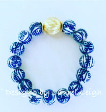 Load image into Gallery viewer, Blue and White Chinoiserie Longevity Symbol Beaded Statement Bracelet - Ginger jar