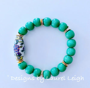 Chinoiserie Bead Statement Bracelet - Kelly Green - Ginger jar