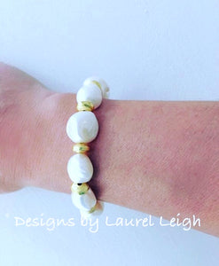 Baroque Freshwater Pearl and Gold Statement Bracelet - Ginger jar