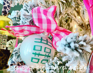 Pink & Green Chinoiserie Hand Painted Christmas Ornament - Pink or Green Paint - Regular Size