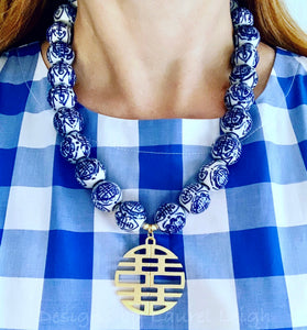 Blue and White Chunky Chinoiserie Double Happiness Pendant Statement Necklace - Ginger jar