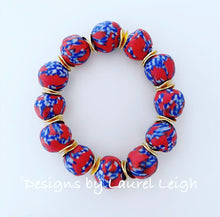 Load image into Gallery viewer, Red, White & Blue African Glass Statement Bracelet - Ginger jar
