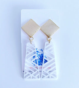 Chinoiserie Chippendale Statement Earrings - White/Gold - Ginger jar
