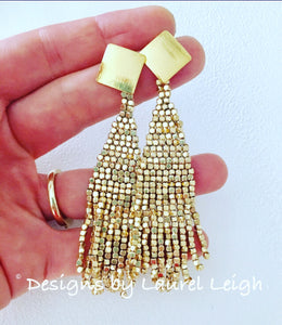 Gold Dressy Beaded Fringe Post Earrings - Ginger jar