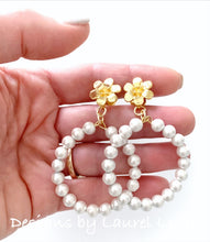 Load image into Gallery viewer, Gold Floral & White Cotton Pearl Hoop Earrings - Ginger jar