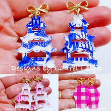 Load image into Gallery viewer, Chinoiserie Pagoda Bow Post Earrings (Small) - Blue Willow, Pink Willow & Gingham