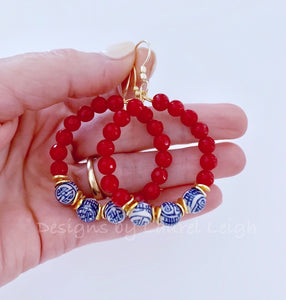 Chinoiserie Beaded Hoops - Lipstick Red - Ginger jar