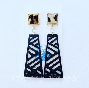 Chinoiserie Chippendale Statement Earrings - Black or Gold Leopard - Ginger jar