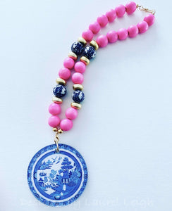 Blue Willow Chinoiserie Double Happiness Pendant Statement Necklace -Bubblegum Pink - Ginger jar