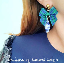 Load image into Gallery viewer, Blue and White Chinoiserie Ginger Jar Earrings with Black Watch Tartan Plaid Bows