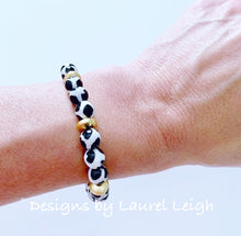 Load image into Gallery viewer, Black, Gold & White Tibetan Agate Gemstone Statement Bracelet - Ginger jar