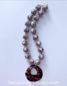 Chunky Chinoiserie Double Happiness Necklace with Brown Tortoise Shell Pendant