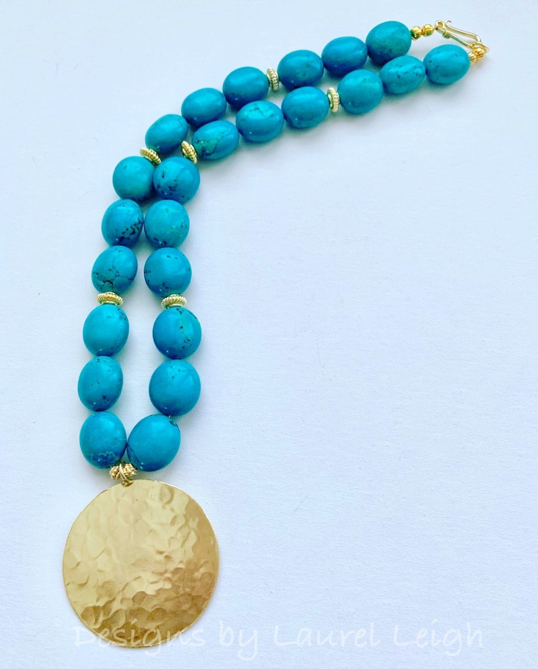 Turquoise & Gold Pendant Statement Necklace - Ginger jar